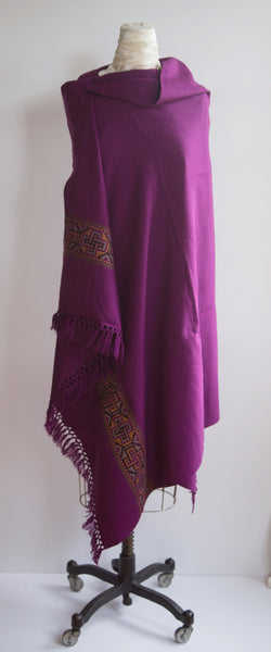 Purple Yak Wool Shawl