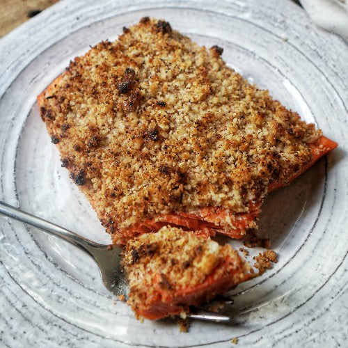 grain-free and paleo coconut macadamia crusted baked salmon