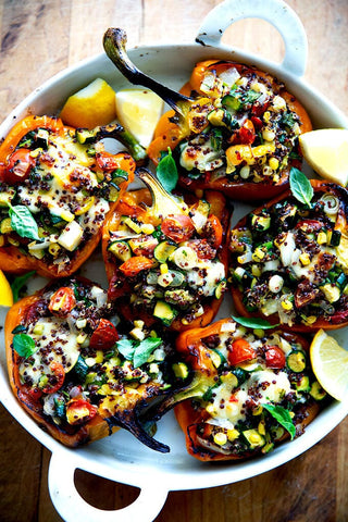 quinoa and veggie loaded roasted peppers