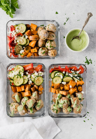 paleo greek turkey meatballs sheet pan meal