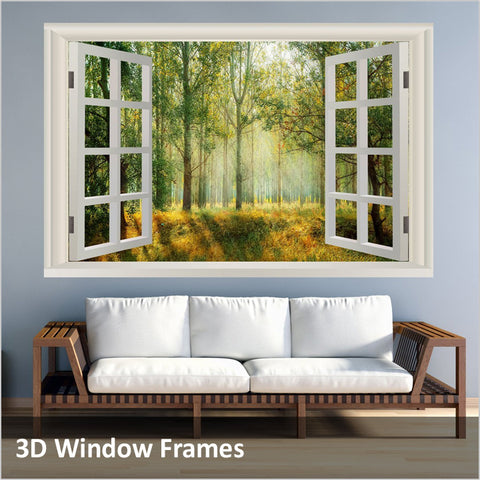 3D Window Frames Wall Decals