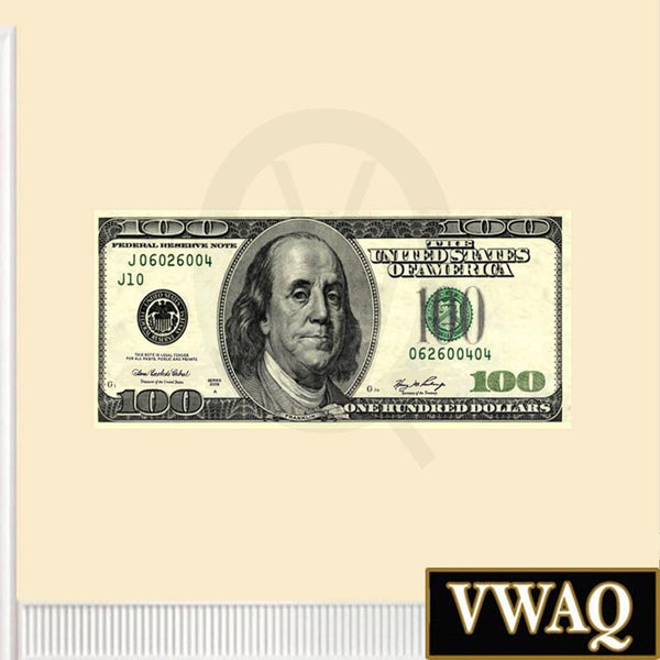 VWAQ Peel and Stick One Hundred Dollar Bill Repositionable Vinyl Wall Decal - VWAQ Vinyl Wall Art Quotes and Prints