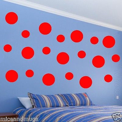 Polka Dots Wall Decals (20) Pack Peel and Stick Assorted Sizes Multi Red MM-14 Wall Decal