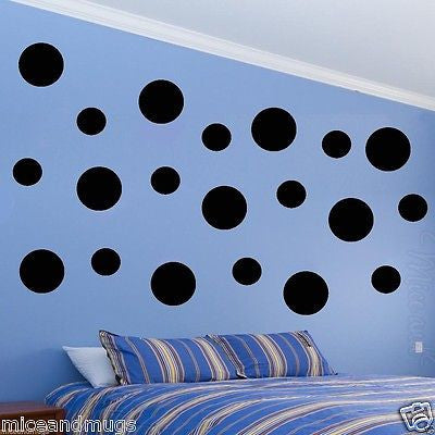 Polka Dots Wall Decals (20) Pack Peel and Stick Assorted Sizes Multi Black MM-13 Wall Decal