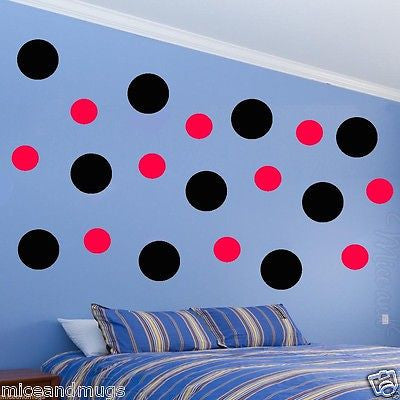 Polka Dots Wall Decals Peel & Stick Art Circles Black and Red Multi-Color MM-3