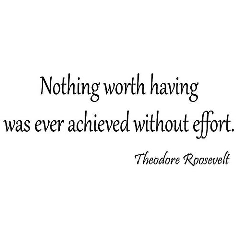 VWAQ Nothing Worth Having Was Ever Achieved Without Effort Teddy Roosevelt Wall Decal - VWAQ Vinyl Wall Art Quotes and Prints