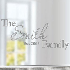 VWAQ Custom Family Name Etched Glass Decal - VWAQ Vinyl Wall Art Quotes and Prints