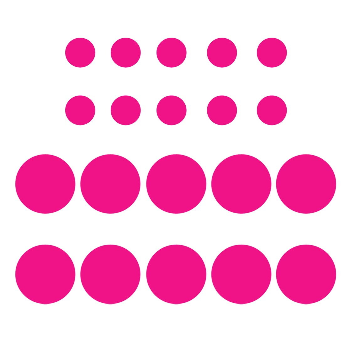 VWAQ Pack of (20) Assorted Sized Peel and Stick Hot Pink Polka Dots Wall Decals - VWAQ Vinyl Wall Art Quotes and Prints