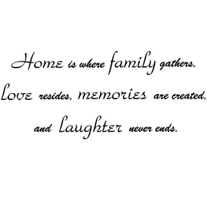 VWAQ Home is Where Family Gathers Wall Decal Family Room Wall Quote Sayings Vinyl Letters - VWAQ Vinyl Wall Art Quotes and Prints