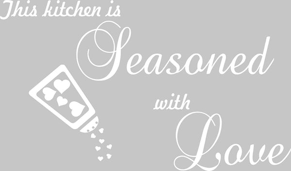 VWAQ This Kitchen is Seasoned with Love Wall Decal Sticker Decor - Dining Room Vinyl Wall Sayings - VWAQ Vinyl Wall Art Quotes and Prints