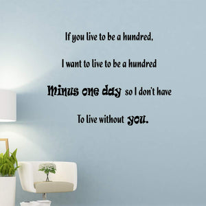VWAQ If You Live to Be A Hundred Wall Decal Winnie The Pooh Quotes Wall Decor - VWAQ Vinyl Wall Art Quotes and Prints