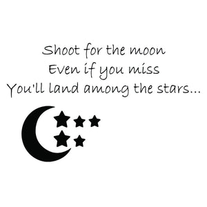 VWAQ Shoot For The Moon Even If You Miss You'll Land Among The Stars Vinyl Wall Decal -18096 - VWAQ Vinyl Wall Art Quotes and Prints no background