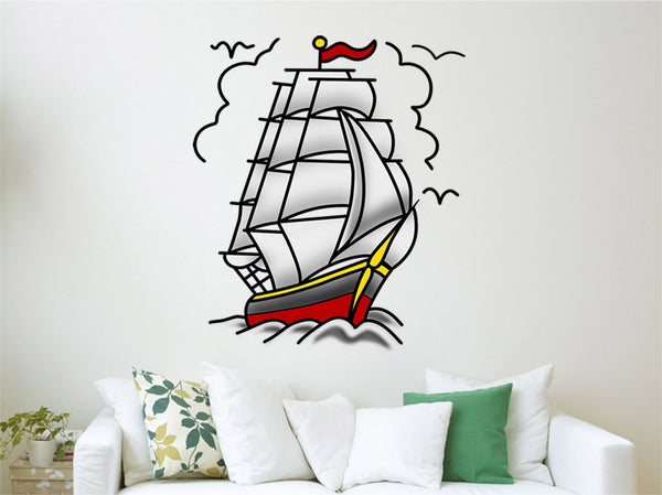 VWAQ Vintage Ship Decal, American Traditional Tattoo Wall Art Decor - AT6 - VWAQ Vinyl Wall Art Quotes and Prints