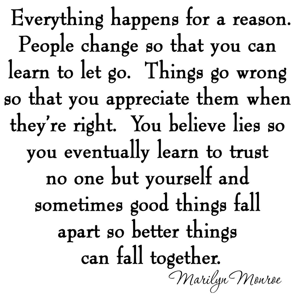 Everything Happens For A Reason Marilyn Monroe Wall Decal Stickers