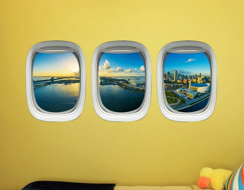 VWAQ Miami Wall Sticker Art For Bedroom - Airplane Window Skyline Decals Decor -PPW32 - VWAQ Vinyl Wall Art Quotes and Prints
