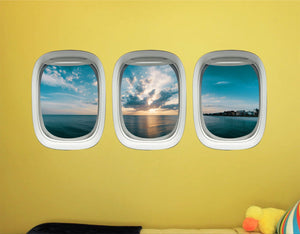 Airplane Window Vinyl Stickers - 3D Ocean View Wall Decals -PPW45 - VWAQ Vinyl Wall Art Quotes and Prints