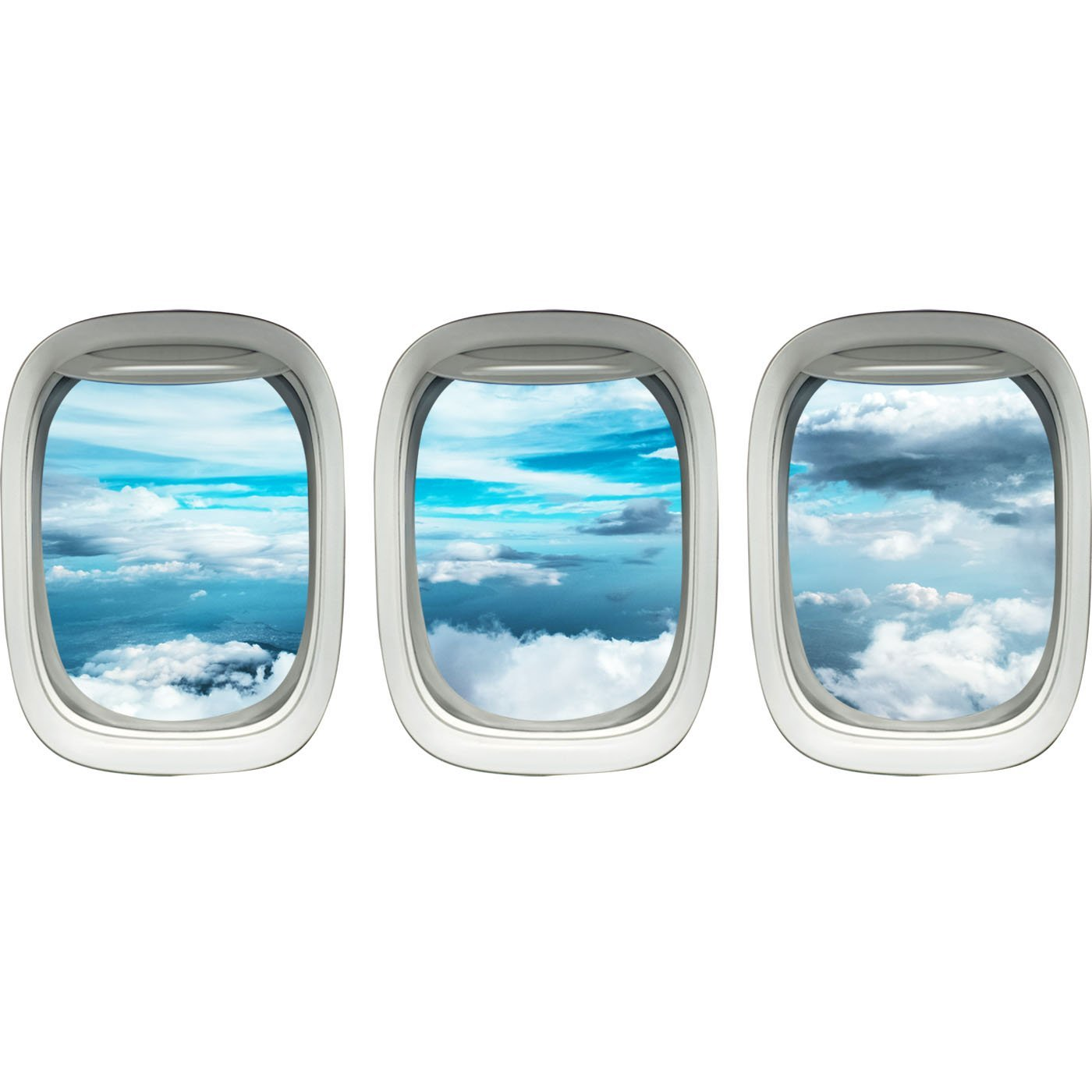 Airplane Window Decals Peel and Stick Pack of 3 Windows - PPW38 - VWAQ Vinyl Wall Art Quotes and Prints