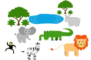 VWAQ Safari Nursery Wall Decals Animals - Jungle Wall Stickers for Kids Playroom Mural Decor - ANP01 - VWAQ Vinyl Wall Art Quotes and Prints