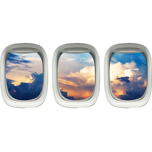 VWAQ Airplane Window Decals For Kids Room - Aircraft Vinyl Wall Mural Sticker -PPW35 - VWAQ Vinyl Wall Art Quotes and Prints