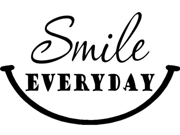 VWAQ Smile Everyday Wall Decal Happy Quotes Wall Decor - Motivating Wall Stickers - VWAQ Vinyl Wall Art Quotes and Prints