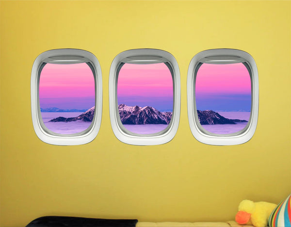 Airplane Decals For Boys Room - Aviation Wall Decor For Kids, Plane Window Clings -PPW41 - VWAQ Vinyl Wall Art Quotes and Prints