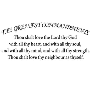 VWAQ The Greatest Commandments Love Thy Neighbor Vinyl Wall Bedroom Wall Decor -Version 2 18098