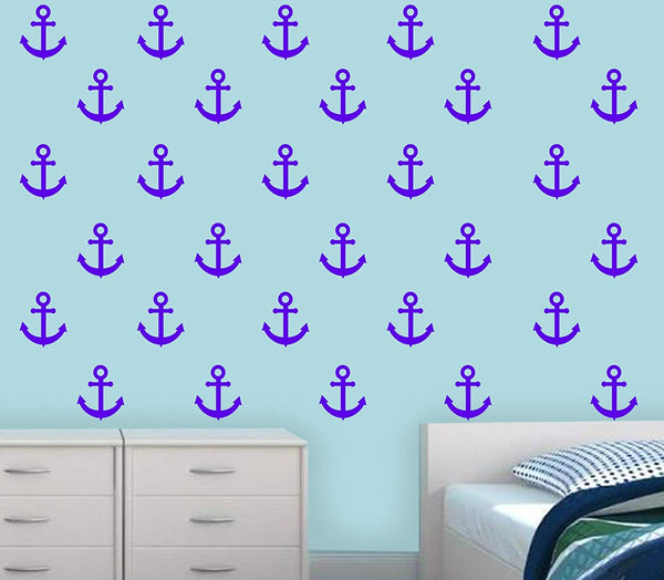 VWAQ Sailor Anchor Wall Stickers - Nautical Anchor Wall Decal - Navy Decor- 30 Pack - VWAQ Vinyl Wall Art Quotes and Prints