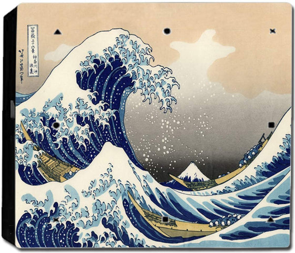 VWAQ PS4 Pro Wrap The Great Wave Off Kanagawa Skin Decal - PPGC8 no background