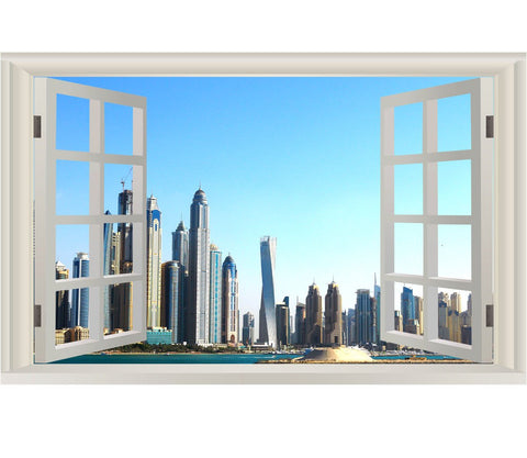 VWAQ Dubai Wall Mural Decor - Unted Arab Emirates Wall Decal, 3D Window Sticker - NWT10 - VWAQ Vinyl Wall Art Quotes and Prints
