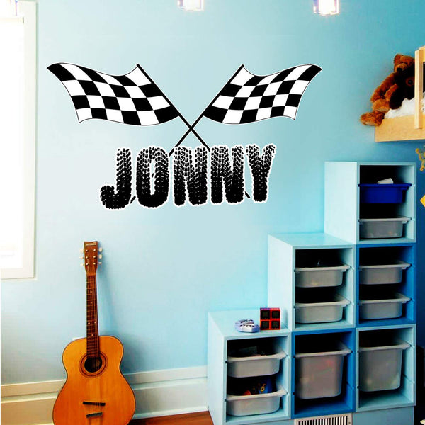 VWAQ Racing Wall Decals for Boys Room Custom Name Flag and Name Racing Sticker - TTC1-P - VWAQ Vinyl Wall Art Quotes and Prints