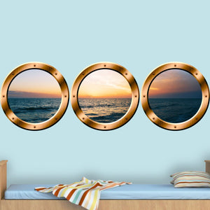 VWAQ Cruise Window Decal - Ocean View Window Cling, Porthole Vinyl Sticker - SPW25 - VWAQ Vinyl Wall Art Quotes and Prints