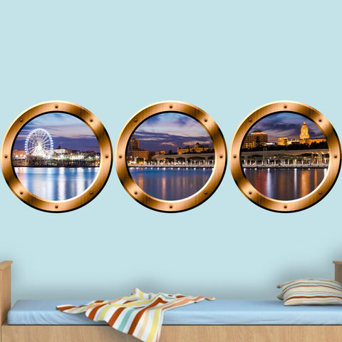 VWAQ 3D Window View Wall Sticker, London Skyline Cityscape Decal - Porthole Vinyl Stickers -SPW22 - VWAQ Vinyl Wall Art Quotes and Prints