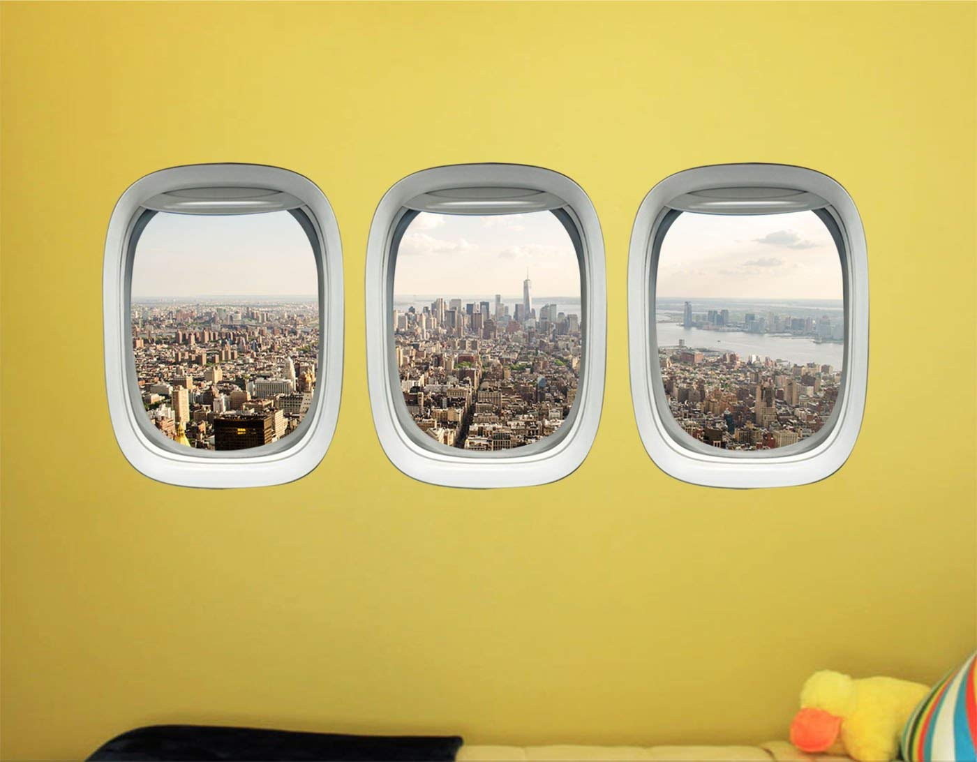 VWAQ NYC Wall Sticker - New York City Window Decal - Airplane Window Clings For Kids -PPW44 - VWAQ Vinyl Wall Art Quotes and Prints