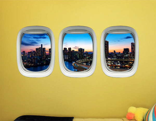 Airplane Window Stickers For Kids - Plane Window Clings, Tokyo Wall Decal Decor -PPW31 - VWAQ Vinyl Wall Art Quotes and Prints