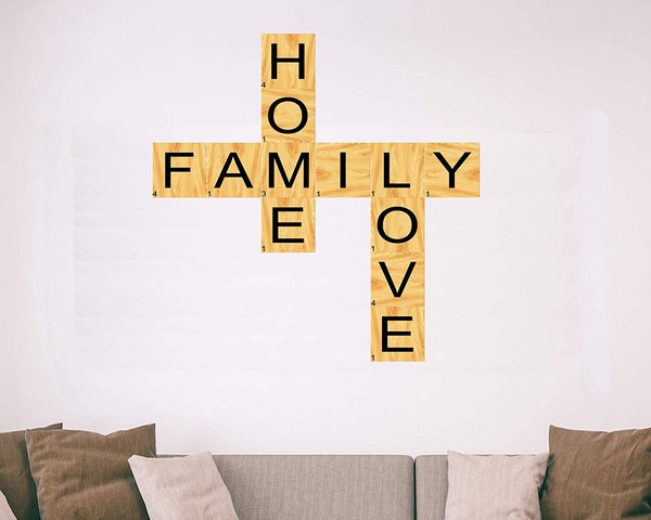 VWAQ Home Family Love Scrabble Wall Decal Vinyl Letters Unique Decals for Living Rooms - TTC3-P - VWAQ Vinyl Wall Art Quotes and Prints