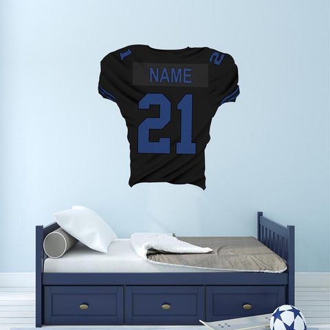 VWAQ Personalized Football Jersey Decal Sports Room Decor with Name and Number - FB5