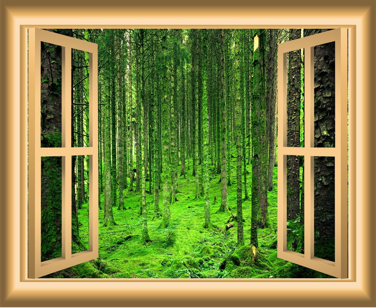 3D Window Wall Decals Forest Nature Scene Removable Wall Art - NW48 - VWAQ Vinyl Wall Art Quotes and Prints