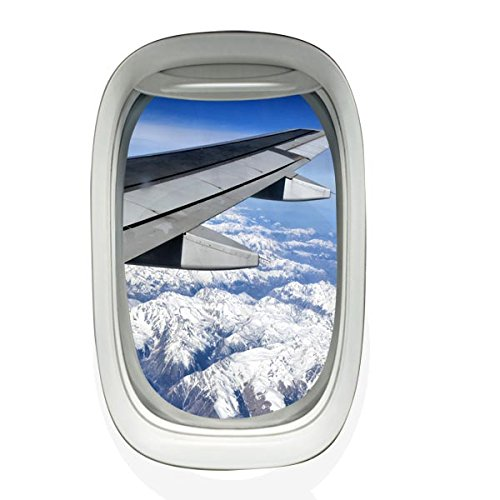 VWAQ Peel and Stick Airplane Window Cloudy Wing View Vinyl Wall Decal - VWAQ Vinyl Wall Art Quotes and Prints no background