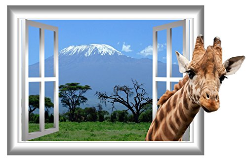 VWAQ Giraffe Mt Kilimanjaro Window Frame View Peel and Stick Vinyl Wall Decal - AN1 - VWAQ Vinyl Wall Art Quotes and Prints