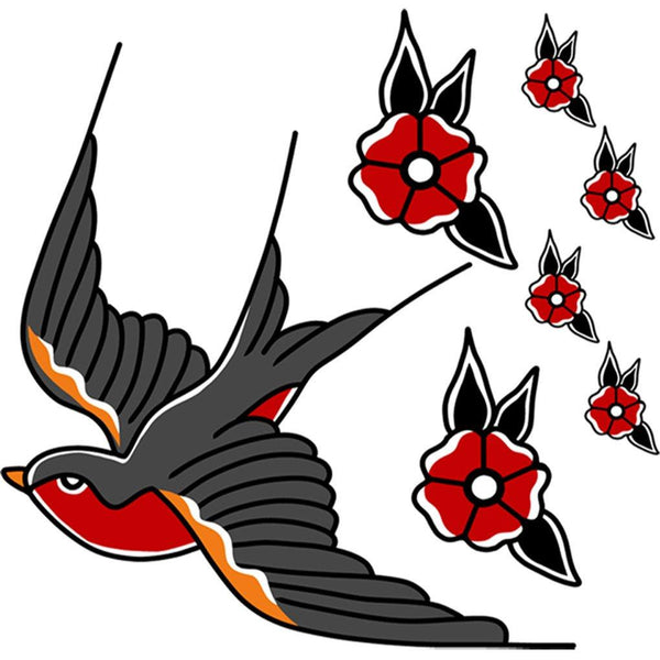 VWAQ Swallow Tattoo Wall Decor Peel and Stick Bird Decals American Traditional Style - AT3 no background