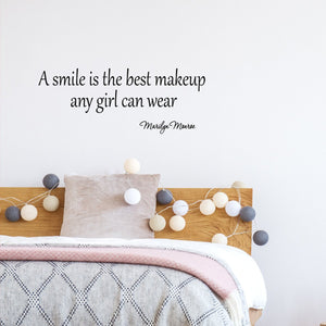 A Smile is the Best Makeup A Girl Can Wear Marilyn Monroe Vinyl Wall Decal - VWAQ Vinyl Wall Art Quotes and Prints