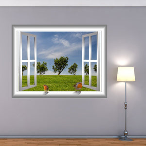 VWAQ Bird on Window Frame in Grassy Field Peel and Stick Vinyl Wall Decal - AN3 - VWAQ Vinyl Wall Art Quotes and Prints