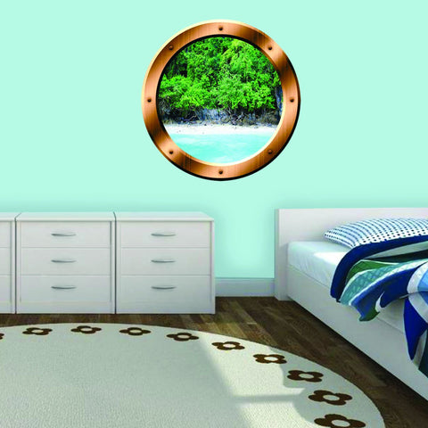 VWAQ Island Trees Beach View Bronze Porthole Peel and Stick Vinyl Wall Decal - BP15 - VWAQ Vinyl Wall Art Quotes and Prints