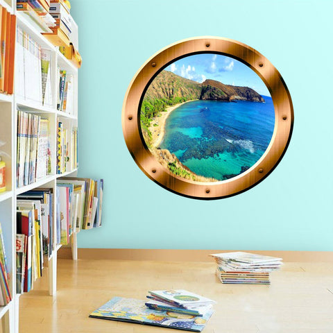 VWAQ Ocean Beach Mountain View Bronze Porthole Peel and Stick Vinyl Wall Decal - BP18 - VWAQ Vinyl Wall Art Quotes and Prints