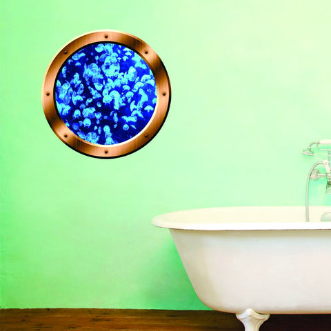 VWAQ Underwater Jellyfish Bronze Porthole Peel and Stick Vinyl Wall Decal - BP28