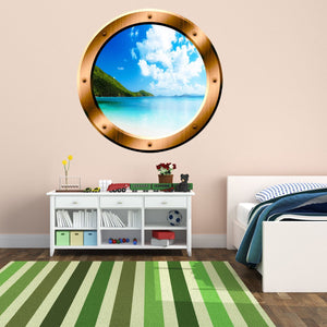 VWAQ Clear Blue Beach Bronze Porthole Window Peel and Stick Wall Decal - BP34 - VWAQ Vinyl Wall Art Quotes and Prints