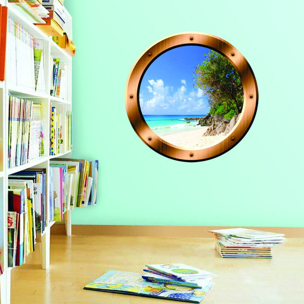 VWAQ Relaxing Beach Porthole Window Peel and Stick Vinyl Wall Art Decal - BP35 - VWAQ Vinyl Wall Art Quotes and Prints