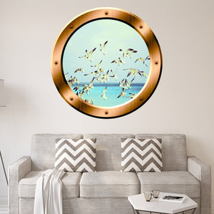VWAQ Seagulls Ocean Peel and Stick Window Porthole Vinyl Wall Decal