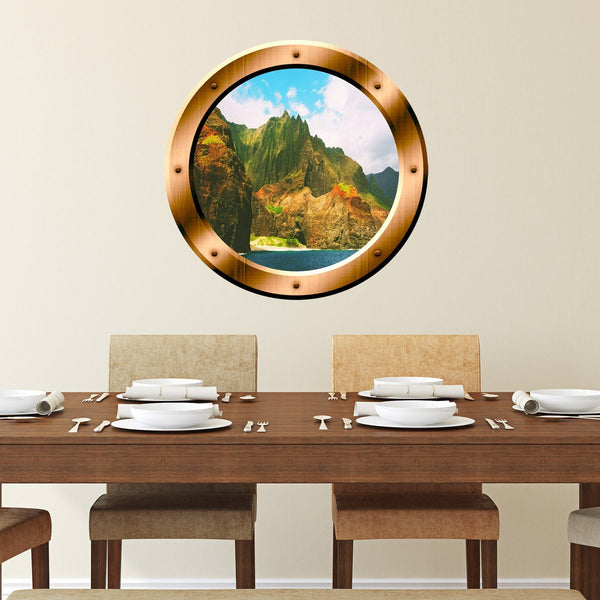 VWAQ Ocean Mountain View Bronze Porthole Peel and Stick Vinyl Wall Decal - BP39