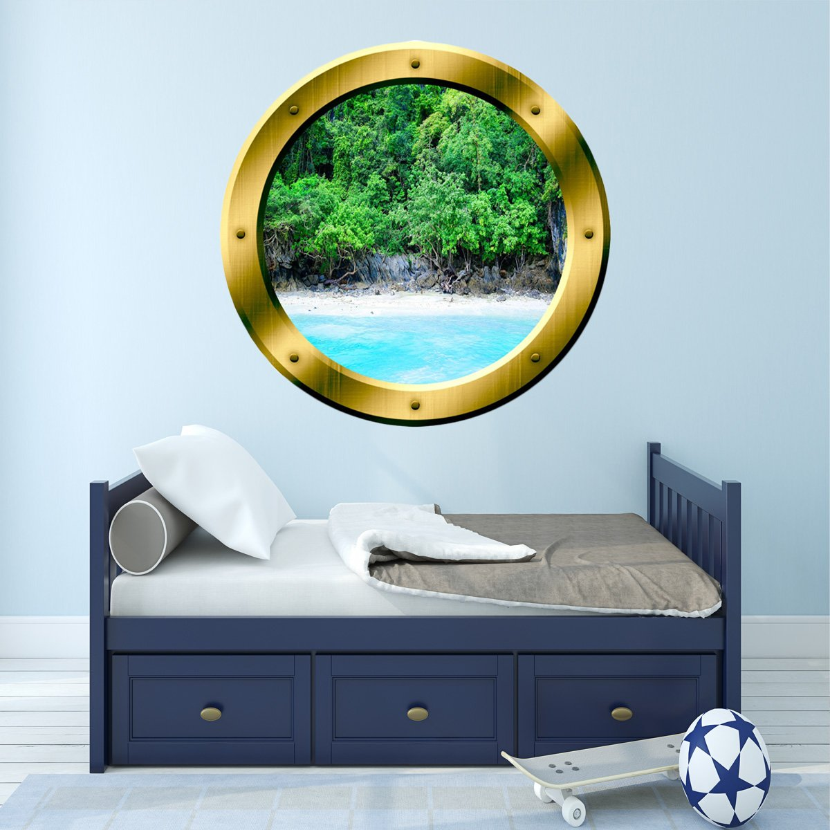 VWAQ Ocean Shoreline Silver Porthole Window View Peel and Stick Vinyl Wall Decal - GP15